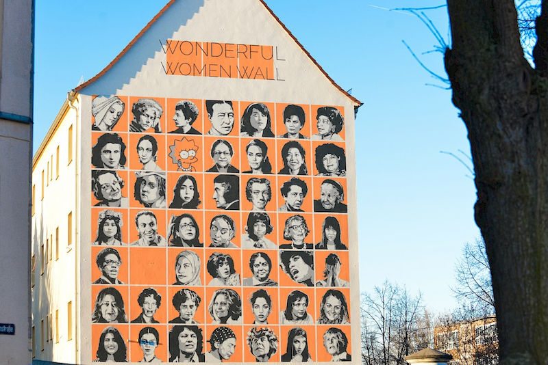 "In 2019, the ""Wonderful Women Wall"" emerged as a mural on Wörmlitzer Strasse in Halle. Betty Heimann can be seen in the middle of the third row from the top."